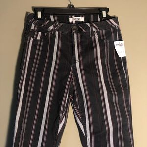 Black low rise striped jeans